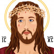 Portrait of Jesus Christ with Christogram - Stock Vector