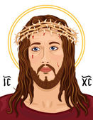 Portrait of Jesus Christ with Christogram — Vector de stock