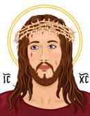 Portrait of Jesus Christ with Christogram — Stock Vector