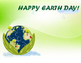 Earth Day Celebration - Green Planet — Stock Vector