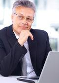 坐在桌前和使用便携式计算机的商人. — 图库照片