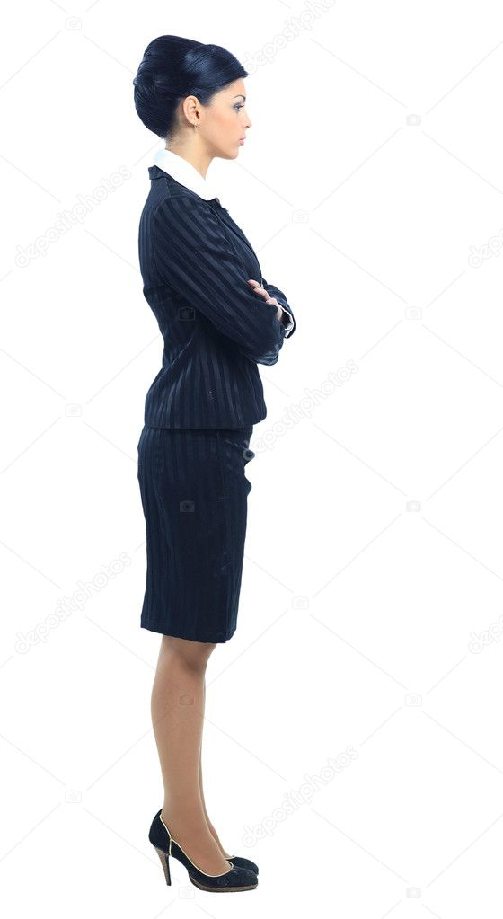 Full length  side view of a confident young business woman standing    Woman Standing Side White Background