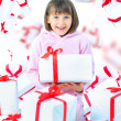 Girl child with gift box. Isolate - 图库照片