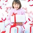 Girl child with gift box. Isolate — Stock Photo