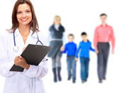 Young attractive family doctor isolated over white background — Stock Photo