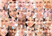Abstract puzzle background with face — Stock Photo