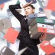 Woman with folders - Stock Photo