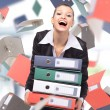 Stock Photo: Woman with folders