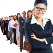 Business woman and her team isolated over a white background — Stock Photo