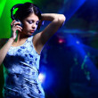 Beautiful woman dj with headphones — Stock Photo