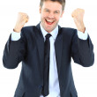 Portrait of a energetic young businessman enjoying success against white - Isolated — Stock Photo #9409604