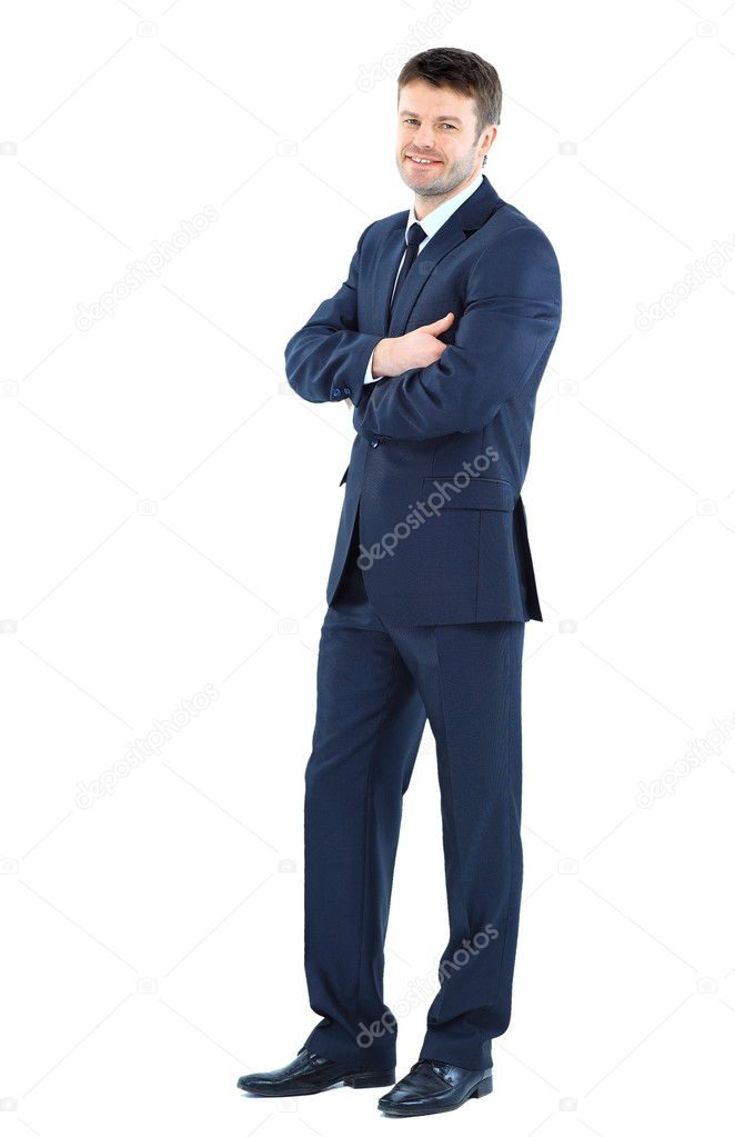 Full body portrait of happy smiling business man, isolated on white background — Stock Photo #9409336