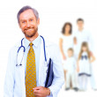Smiling medical doctor and family — Stock Photo