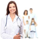 Lekarz i rodziny — Zdjęcie stockowe