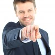 Happy business man presenting and showing with copy space for yo — Stock Photo