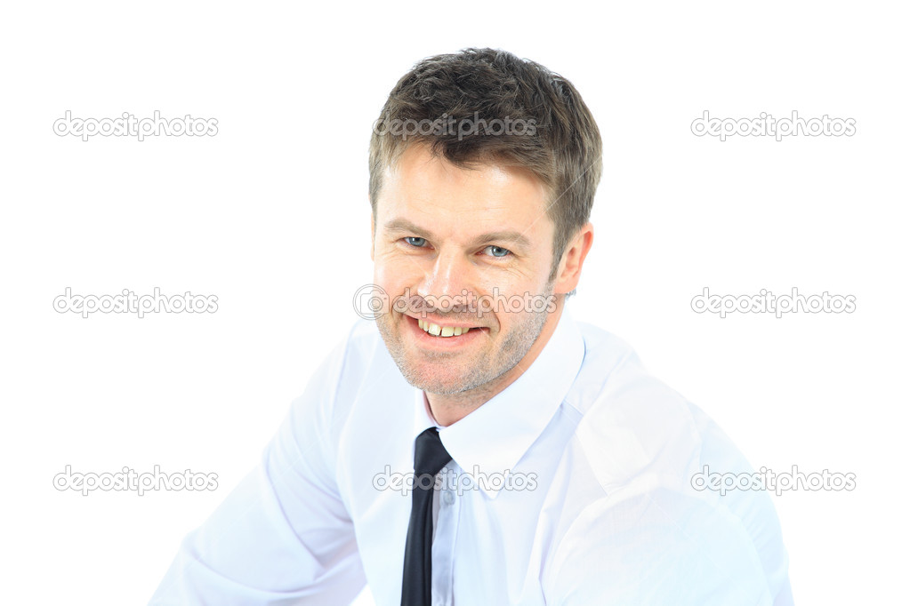 Portrait of young business man with folded hands against white background — Stock Photo #9785151