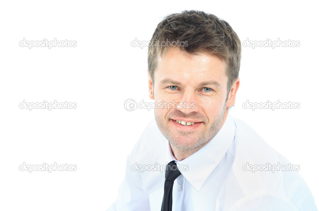 Portrait of young business man with folded hands against white background — Stock Photo #9785187