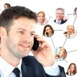 Stock Photo: A group of talking on the phone