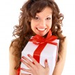 Excited attractive woman with many gift boxes and bags — Stock fotografie