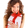 Excited attractive woman with many gift boxes and bags — Foto de Stock