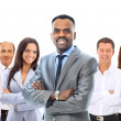 Royalty-Free Stock Photo: Leader and her team, Young attractive business with focus only on businesswoman in the middle
