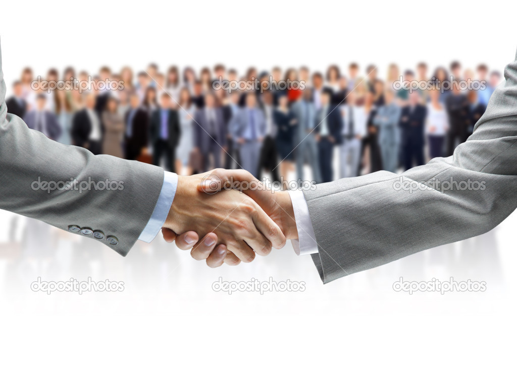 Shaking hands and business team — Stock Photo #9946743
