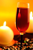 Romantic Evening in Restaurant with Red Wine and Burning Candles — Stock Photo