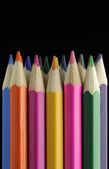 Colored Pencils on Black Background — Stock Photo