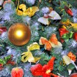 Christmas Tree Decorated with Bows, Balls, and Toys — Stock Photo #8195508