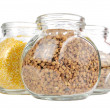 Stock Photo: Glass Jars with Buckwheat, Corn Grits and Lentils