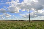 Alte power-pole und elektrische stromleitungen im bereich — Stockfoto