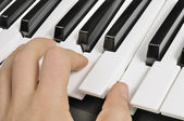 Musician Playing the Piano (MIDI Keyboard) — Stock Photo