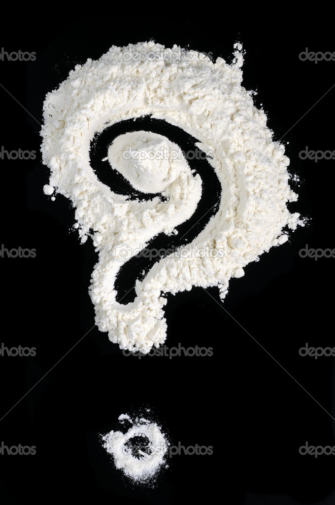 A question mark written in wheat flour on a black background — Foto de Stock   #9025224