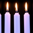 Burning Candles on Black Background — Stock Photo