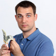 Man with money showing thumbs up — Stock Photo #10503690