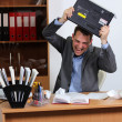 Aggression man in office — Stockfoto