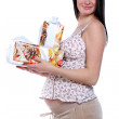 Portrait of pregnant woman with gift boxes — Stock Photo