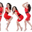Happy young women in red dress — Stock Photo