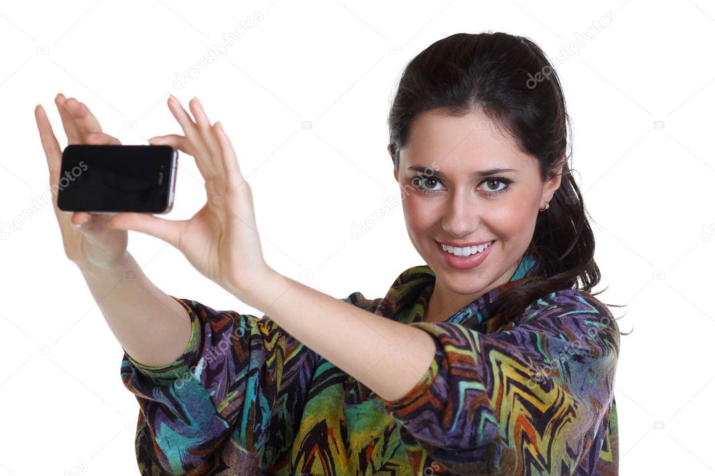 Girl posing for a photograph taken from his cell phone — Stock Photo #8750998