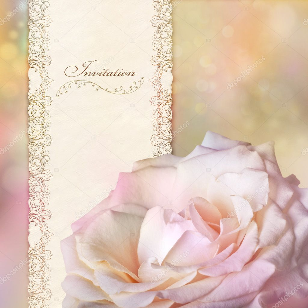 Invitation card with pink rose  Stock Photo #8076860