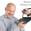 Businessman holding laptop on white background. — Stock Photo #10526993