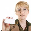 Portrait of business woman giving blank business card. — Stockfoto #10527058