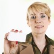 Portrait of business woman giving blank business card. — Stock Photo #10527059