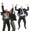 Cheerful business jumping - Stock Photo