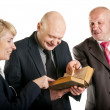 Happy business reading a old book in a meeting — Foto de Stock
