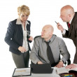 Three business working at meeting — Stock Photo