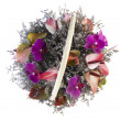 Flower arrangement in basket - Stock Photo