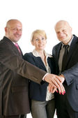 Business hands making a pile — Stock Photo