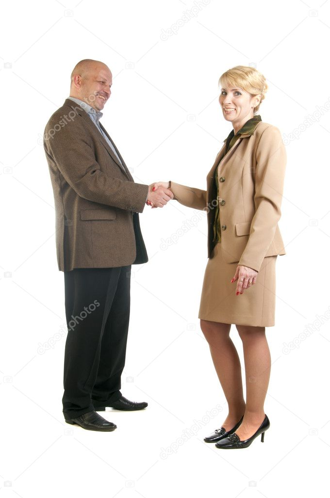 Photo of handshake of business partners after striking deal. Isolated over white background. — Stock Photo #10526941