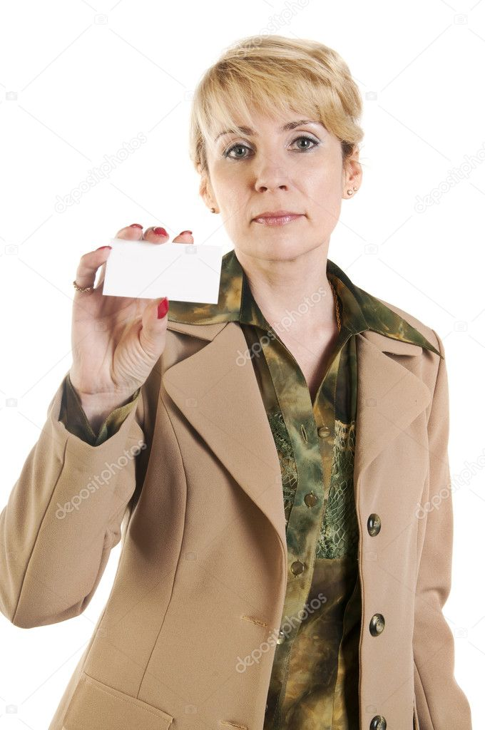 Portrait of business woman giving blank business card,  isolated over white background — Stock Photo #10527048